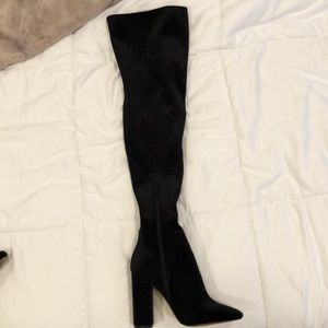 Aldo thigh high Sumers suede snake print boots